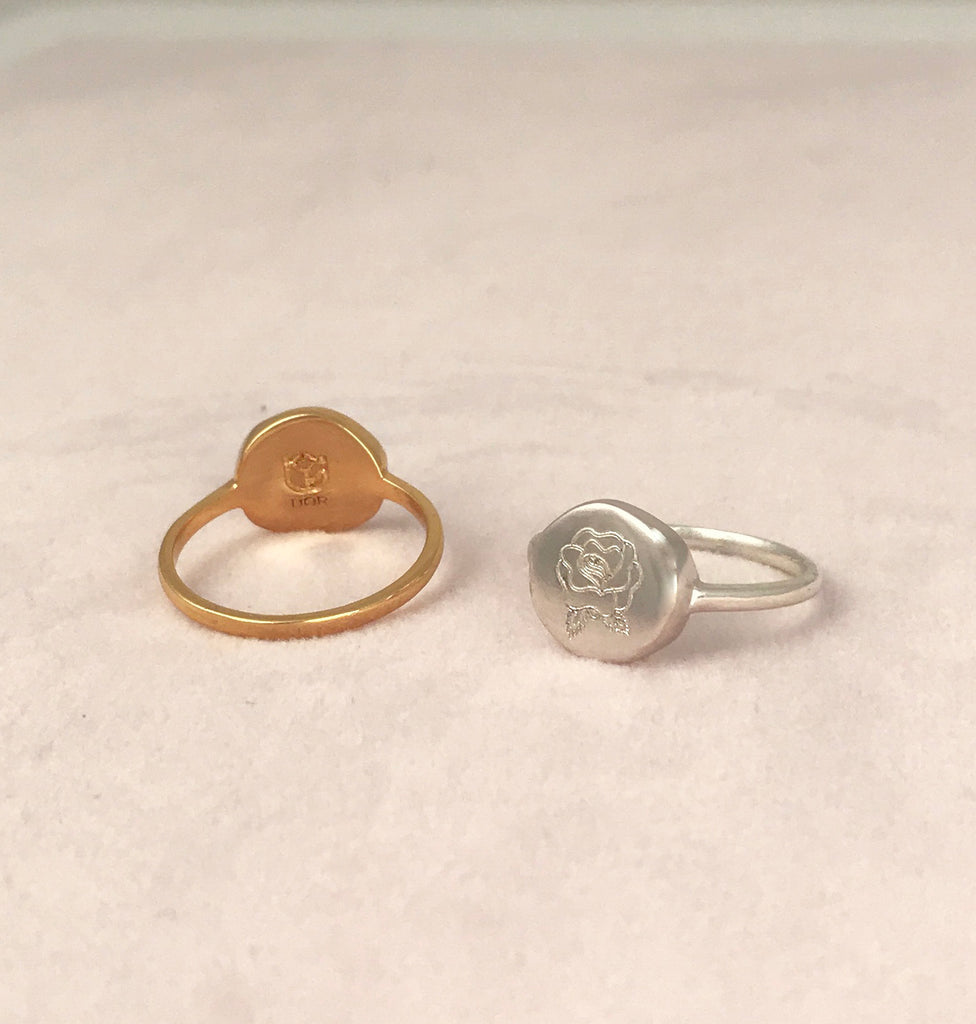 'Love' Organic Coin Silver Ring