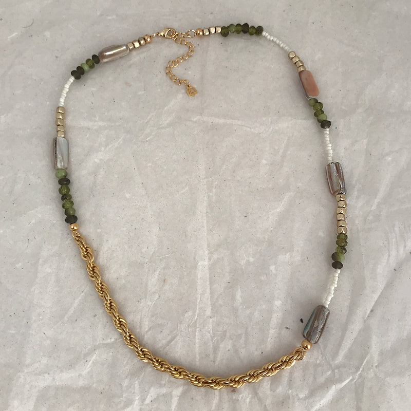 Multi beads with chain necklace