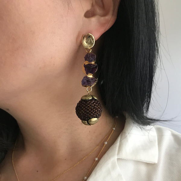 Statement beaded ball earrings