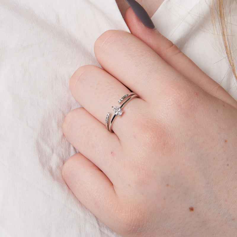 Sterling Silver Double Row Teardrop Ring
