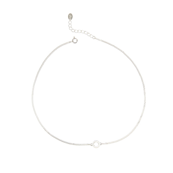 Sterling Silver Tiny Circle Choker