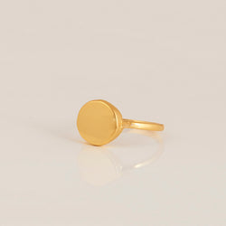 'Love' Organic Coin Gold Ring