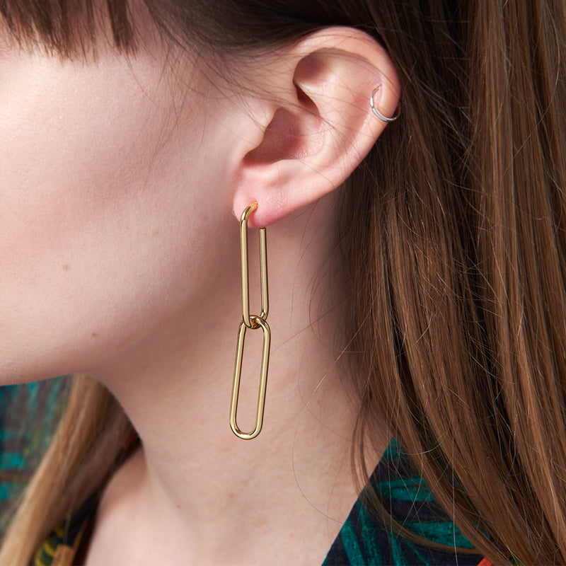 Sleek Linked Hoop Earrings