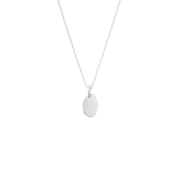 Dainty Organic Oval Pendant Sterling Silver