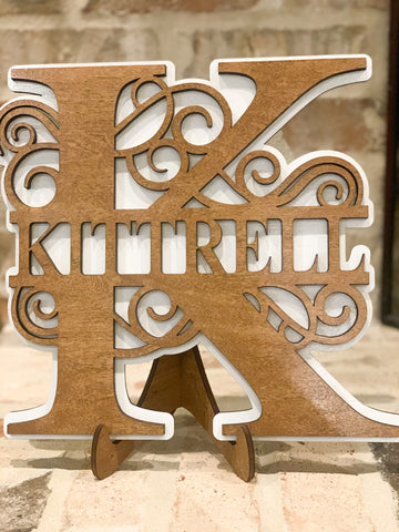 2 layer stained Split Monogram with Stand