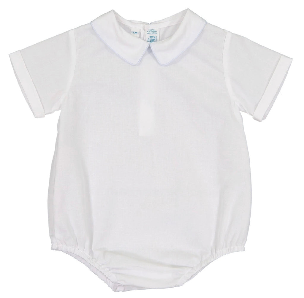 White Boys Pointed Collar Onesie