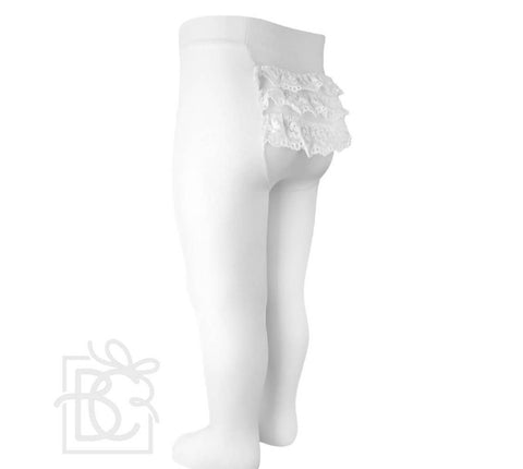 White Bottom Lace Microfiber Tights