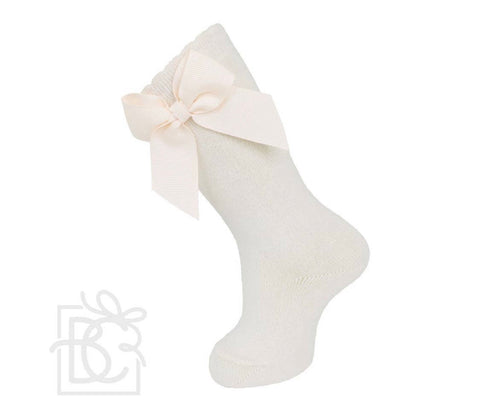 Natural Knee Socks with Gross Grain Side Bow