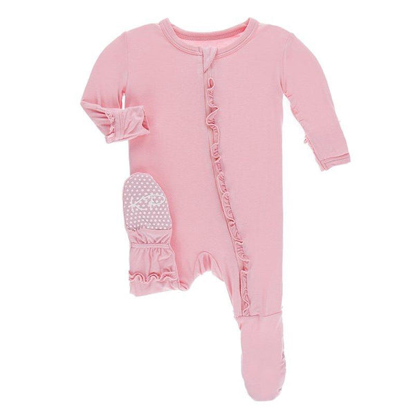 Solid Layette Classic Ruffle Footie with a Zipper
