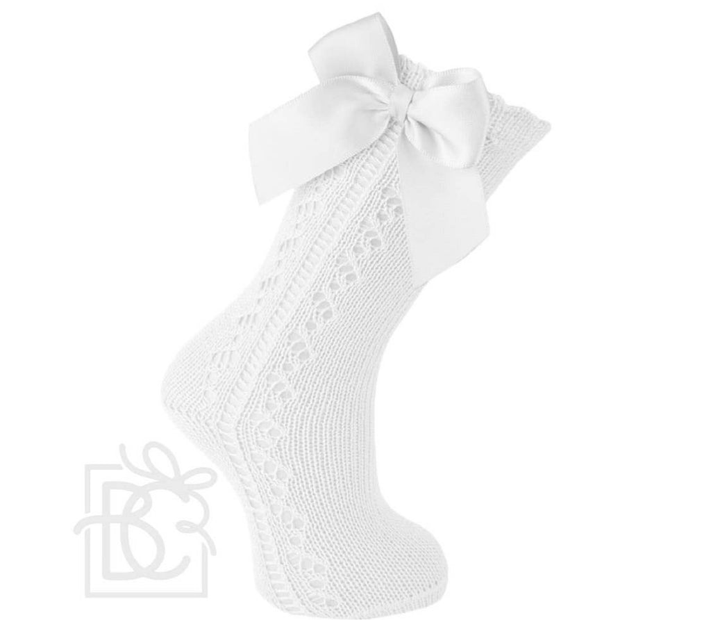 Scottish Yarn Openwork Knee high socks with Bow
