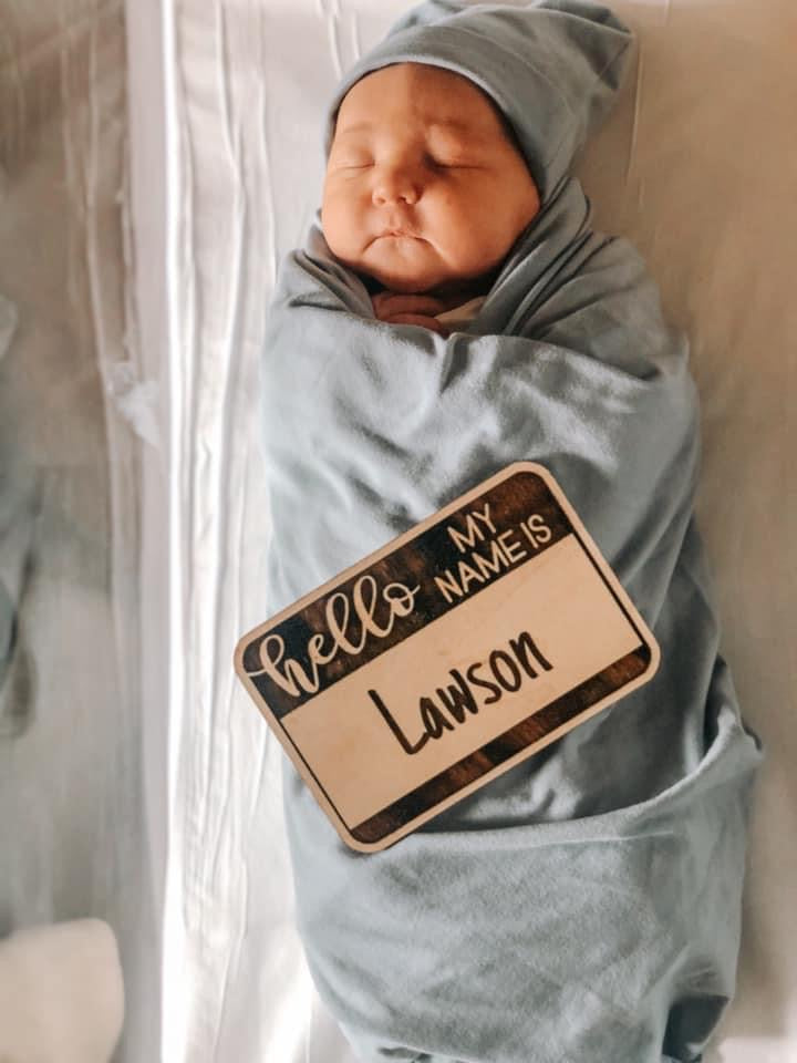 Hello, my name is.... wooden cutout birth announcement