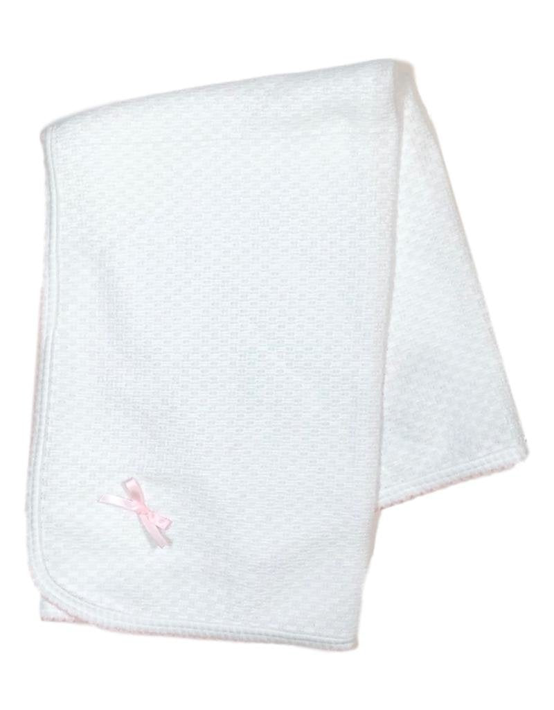 White with Pink Trim Receiving Blanket