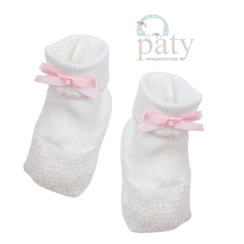 White with Pink Trim Booties w/ Bow