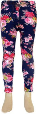 Trendsera Girls' Blue Base Floral Jeggings