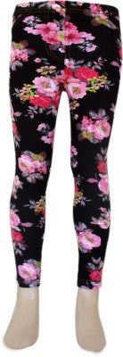 Trendsera Girls' Black Base Floral Jeggings