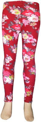 Trendsera Girls' Red Base Floral Jeggings
