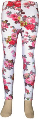 Trendsera Girls' White Base Floral Jeggings