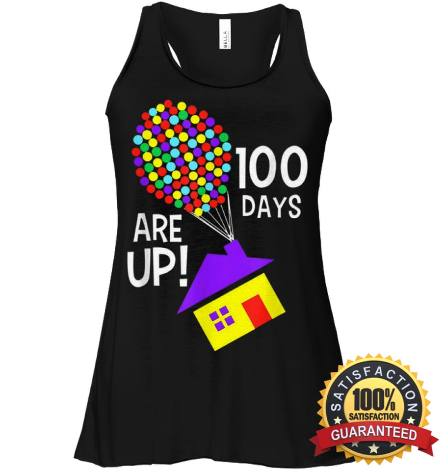 100 Days Are Up | Of School T-Shirt Bella Womens Flowy Tank / Black S Apparel