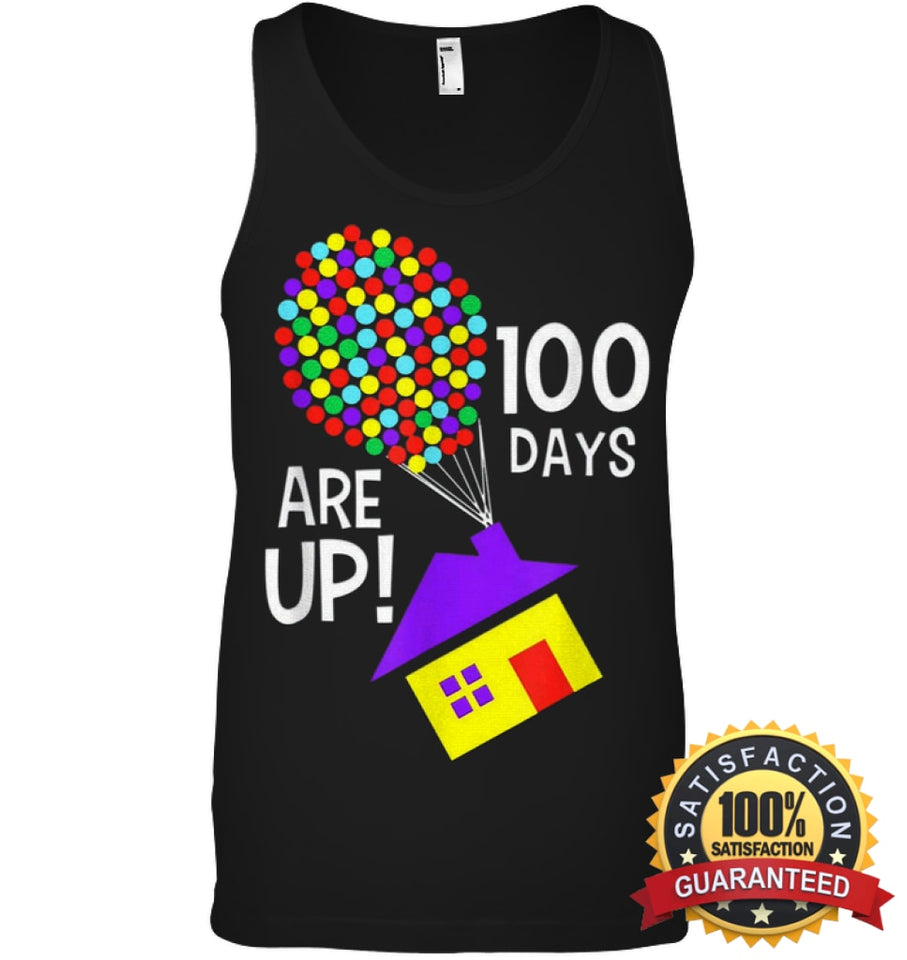 100 Days Are Up | Of School T-Shirt Canvas Unisex Ringspun Tank / Black Xs Apparel