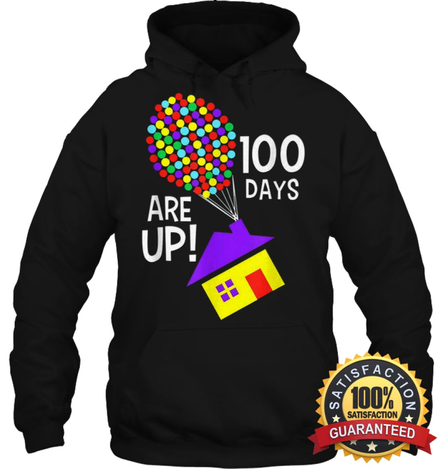 100 Days Are Up | Of School T-Shirt Unisex Heavyweight Pullover Hoodie / Black S Apparel