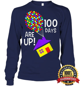 100 Days Are Up | Of School T-Shirt Unisex Long Sleeve Classic Tee / Navy S Apparel