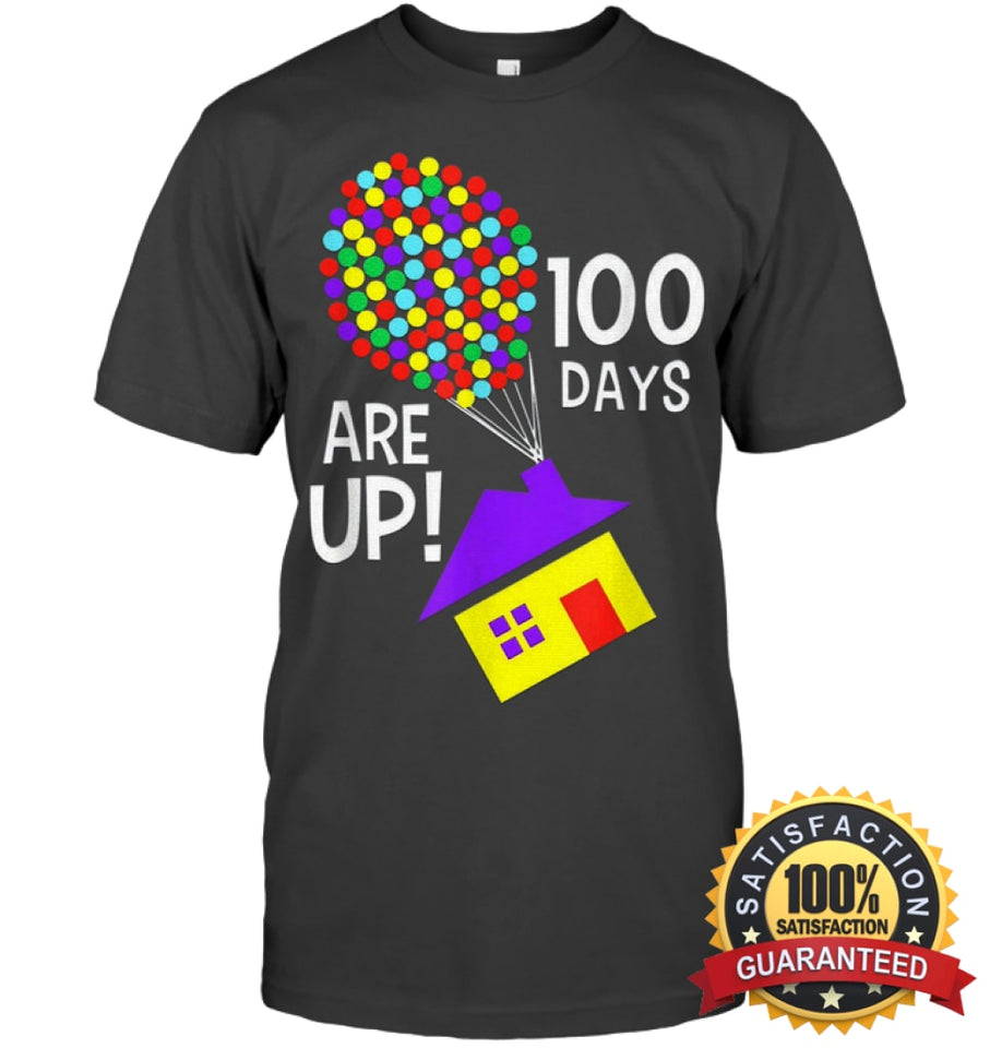 100 Days Are Up | Of School T-Shirt Unisex Short Sleeve Classic Tee / Charcoal Heather S Apparel