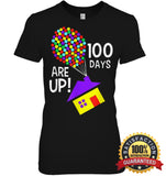 100 Days Are Up | Of School T-Shirt Womens Relaxed Fit Tee / Black S Apparel