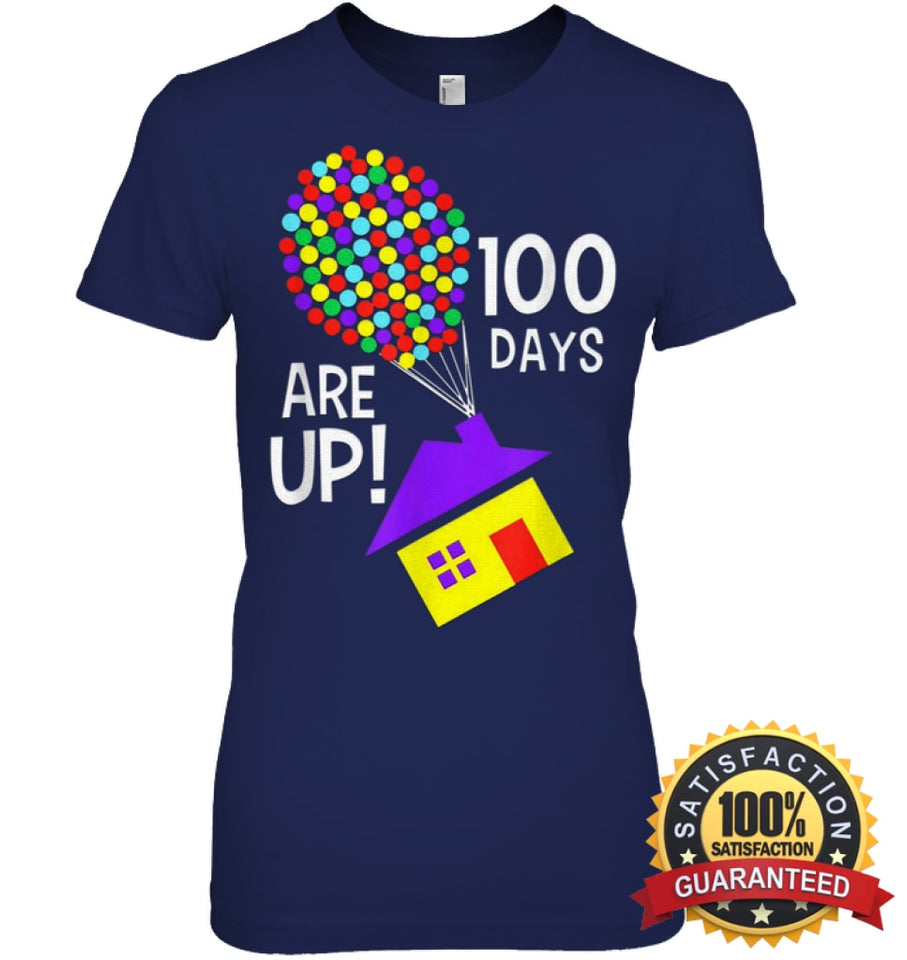 100 Days Are Up | Of School T-Shirt Womens Relaxed Fit Tee / Navy S Apparel