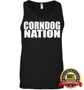 Corndog Nation Food Lovers Funny T-Shirt Canvas Unisex Ringspun Tank / Black Xs Apparel