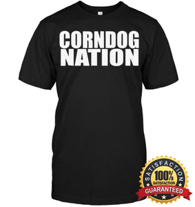 Corndog Nation Food Lovers Funny T-Shirt Unisex Short Sleeve Classic Tee / Black S Apparel