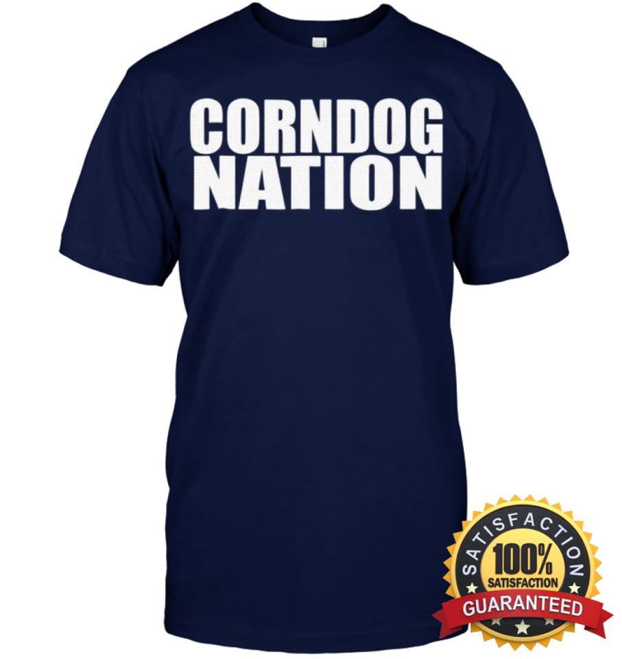 Corndog Nation Food Lovers Funny T-Shirt Unisex Short Sleeve Classic Tee / Navy S Apparel
