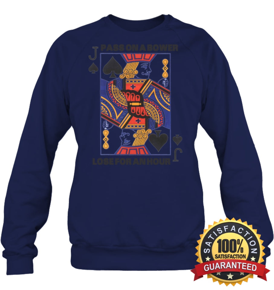 Euchre Shirt Unisex Fleece Pullover Sweatshirt / Navy S Apparel