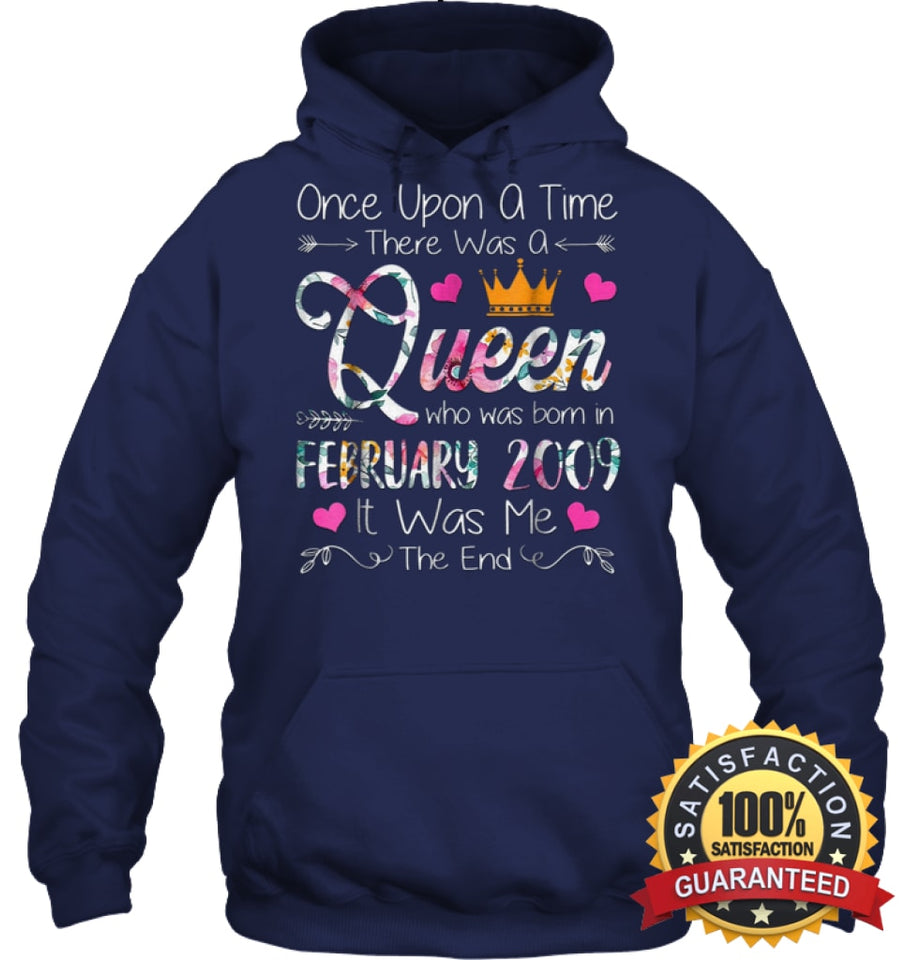 Girls 10Th Birthday Queen February 2009 Shirt T Shirt Unisex Heavyweight Pullover Hoodie / Navy S