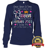 Girls 10Th Birthday Queen February 2009 Shirt T Shirt Unisex Long Sleeve Classic Tee / Navy S