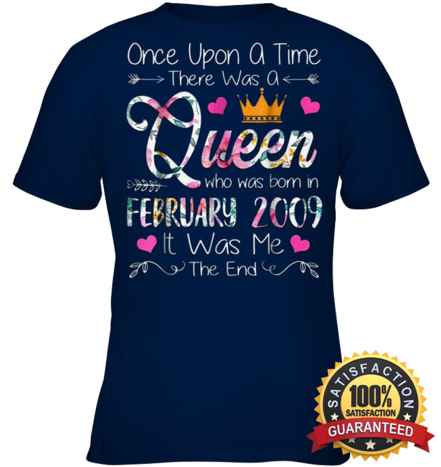 Girls 10Th Birthday Queen February 2009 Shirt T Shirt Youth Classic Tee / Navy Xs Apparel