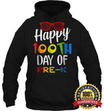 Happy 100Th Day Of Pre-K Shirt For Teacher & Kid T Shirt Unisex Heavyweight Pullover Hoodie / Black