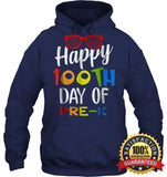 Happy 100Th Day Of Pre-K Shirt For Teacher & Kid T Shirt Unisex Heavyweight Pullover Hoodie / Navy S