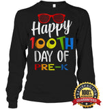 Happy 100Th Day Of Pre-K Shirt For Teacher & Kid T Shirt Unisex Long Sleeve Classic Tee / Black S