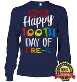Happy 100Th Day Of Pre-K Shirt For Teacher & Kid T Shirt Unisex Long Sleeve Classic Tee / Navy S