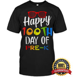 Happy 100Th Day Of Pre-K Shirt For Teacher & Kid T Shirt Unisex Short Sleeve Classic Tee / Black S
