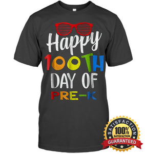 Happy 100Th Day Of Pre-K Shirt For Teacher & Kid T Shirt Unisex Short Sleeve Classic Tee / Charcoal