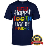Happy 100Th Day Of Pre-K Shirt For Teacher & Kid T Shirt Unisex Short Sleeve Classic Tee / Navy S