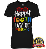 Happy 100Th Day Of Pre-K Shirt For Teacher & Kid T Shirt Womens Relaxed Fit Tee / Black S Apparel
