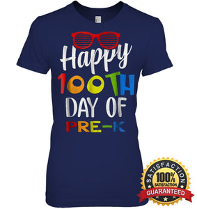 Happy 100Th Day Of Pre-K Shirt For Teacher & Kid T Shirt Womens Relaxed Fit Tee / Navy S Apparel