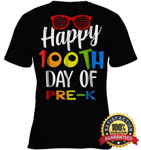 Happy 100Th Day Of Pre-K Shirt For Teacher & Kid T Shirt Youth Classic Tee / Black Xs Apparel