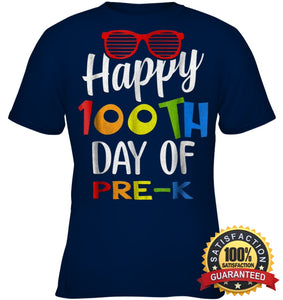 Happy 100Th Day Of Pre-K Shirt For Teacher & Kid T Shirt Youth Classic Tee / Navy Xs Apparel