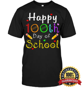 Happy 100Th Day Of School Shirt For Teacher Or Child T Shirt Unisex Short Sleeve Classic Tee / Black