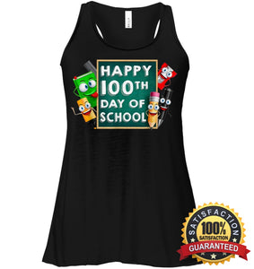 Happy 100Th Day Of School T-Shirt For Kids Boys And Girls T Shirt Bella Womens Flowy Tank / Black S