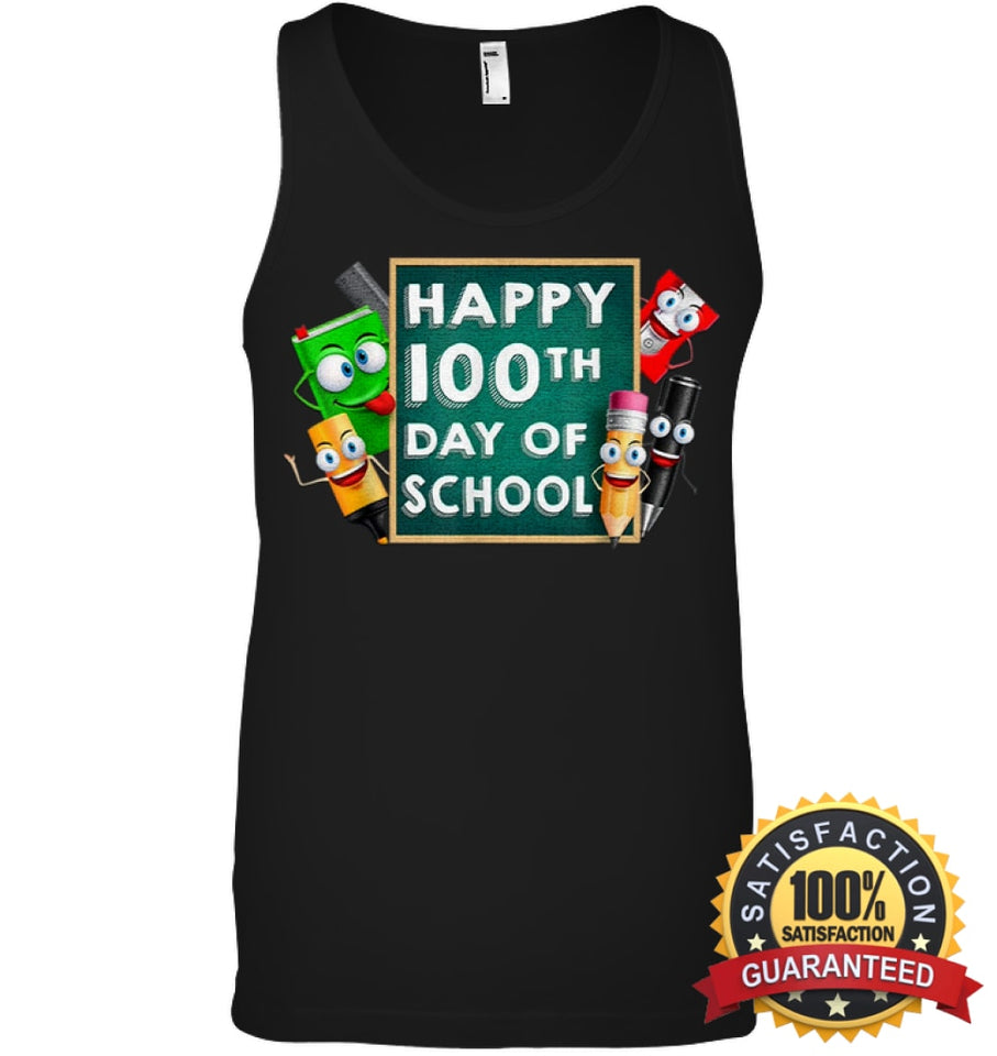 Happy 100Th Day Of School T-Shirt For Kids Boys And Girls T Shirt Canvas Unisex Ringspun Tank /