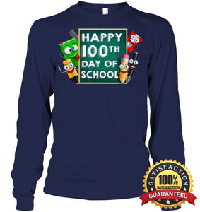 Happy 100Th Day Of School T-Shirt For Kids Boys And Girls T Shirt Unisex Long Sleeve Classic Tee /